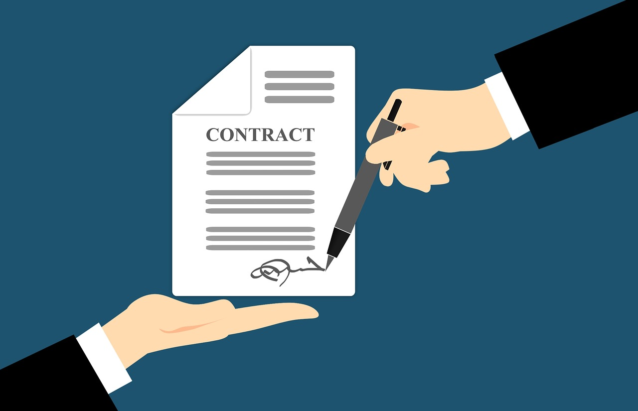 contract, signing, hand